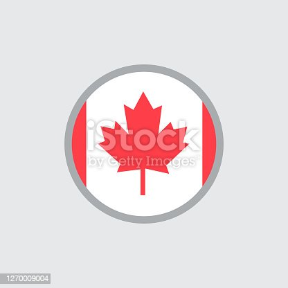 istock Round Canadian flag flat vector icon 1270009004
