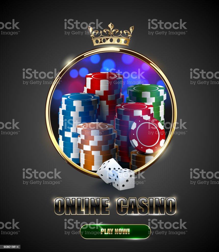 Runde Casino Roulette Goldrahmen Fenster Mit Krone Stapel Pokerchips ...