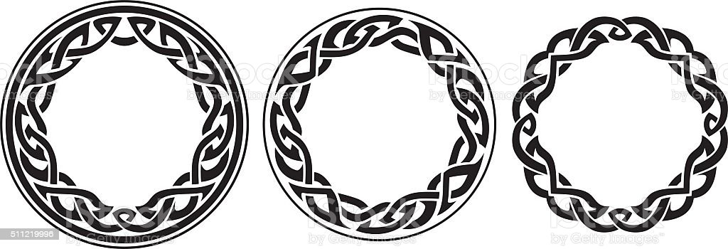 Round Celtic Band Set vector art illustration