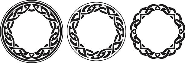 Round Celtic Band Set Variation of abstract decorative elements. celtic style stock illustrations