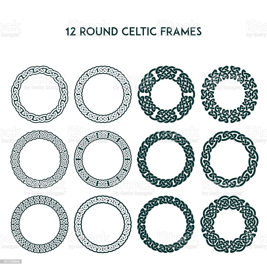 Round Celtic Frames vector art illustration