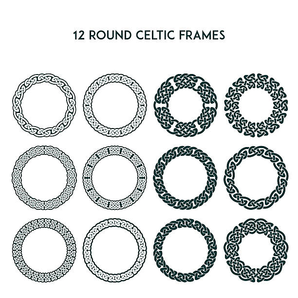Round Celtic Frames Collection of various round celtic frames, vector illustration celtic knot stock illustrations