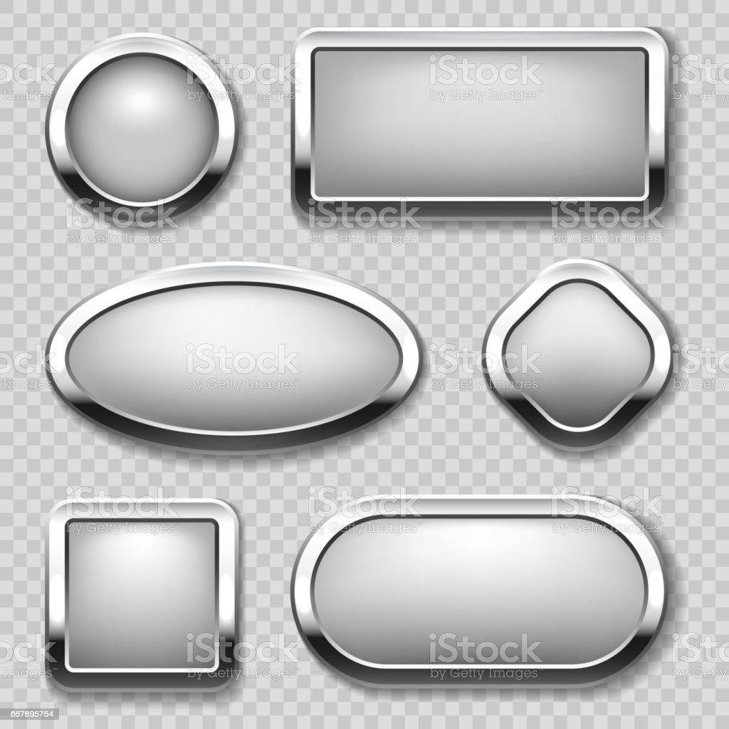 Round chrome button collection on transparent background. Vector metal buttons royalty-free round chrome button collection on transparent background vector metal buttons stock illustration - download image now