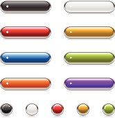 A set of round chrome buttons. Includes wide and round buttons in black, white, red, yellow, blue, green, orange and purple.