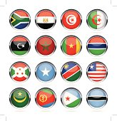 Round Chrome Flag Icon Collection - Africa