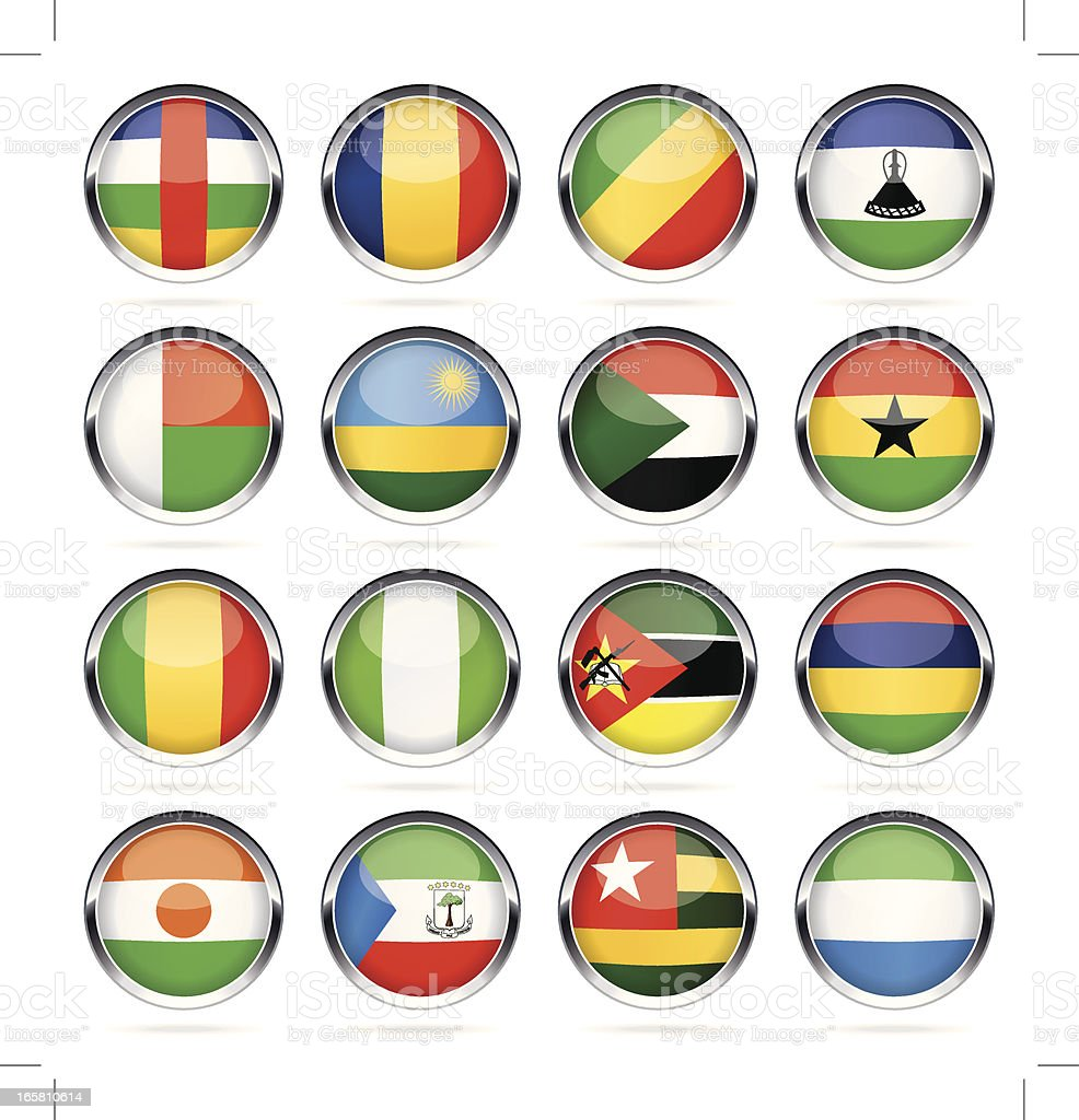 Round Chrome Flag Icon Collection - Africa vector art illustration