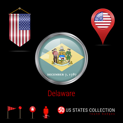 Round Chrome Vector Badge with Delaware US State Flag. Pennant Flag of USA. Map Pointer - USA. Map Navigation Icons