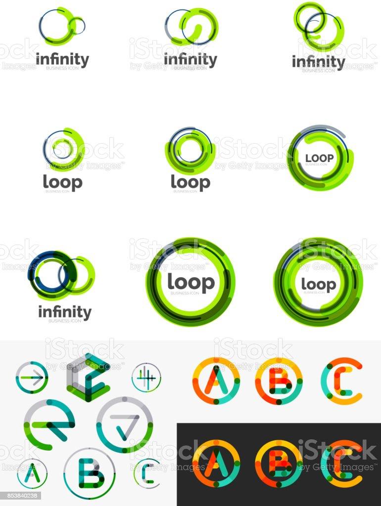 Round circle business symbols vector art illustration