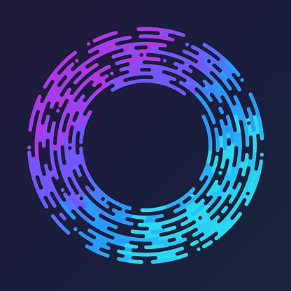 Round Circle Frame Design Element Ripple Line Shape