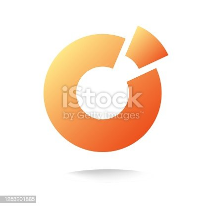 Round circle logo abstract orange color with piece element as finance chart or pie diagram logotype template design vector symbol, concept of geometric statistics data icon, modern sphere image