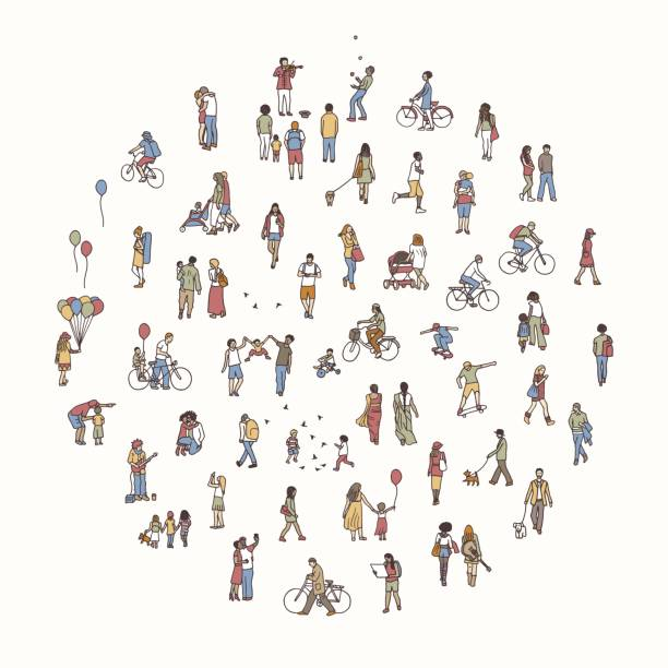 Round circle with tiny people vector art illustration