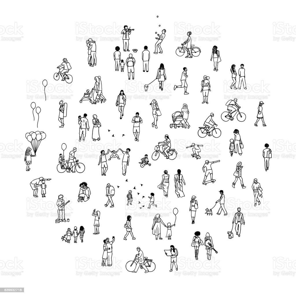 Round circle with tiny people royalty-free round circle with tiny people stock illustration - download image now