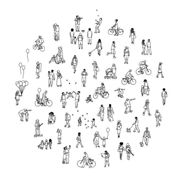 小さな人々 と丸い円 - 都市 モノクロ点のイラスト素材/クリップアート素材/マンガ素材/アイコン素材
