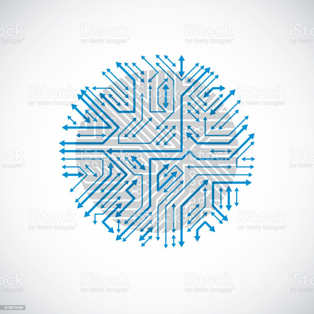 Round Circuit Board With Electronic Components Of Technology Device Old Royalty Free Stock Image Computer Motherboard Cybernetic Blue Vector Abstraction