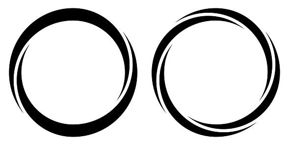 Round circular banner frames, borders, vector hand drawn, circular markers for highlighting text