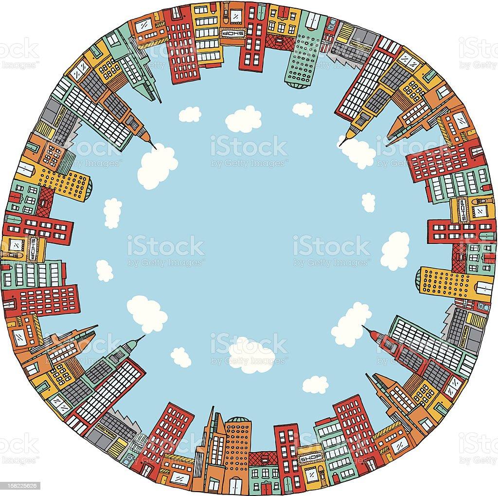 Round city skyline vector art illustration