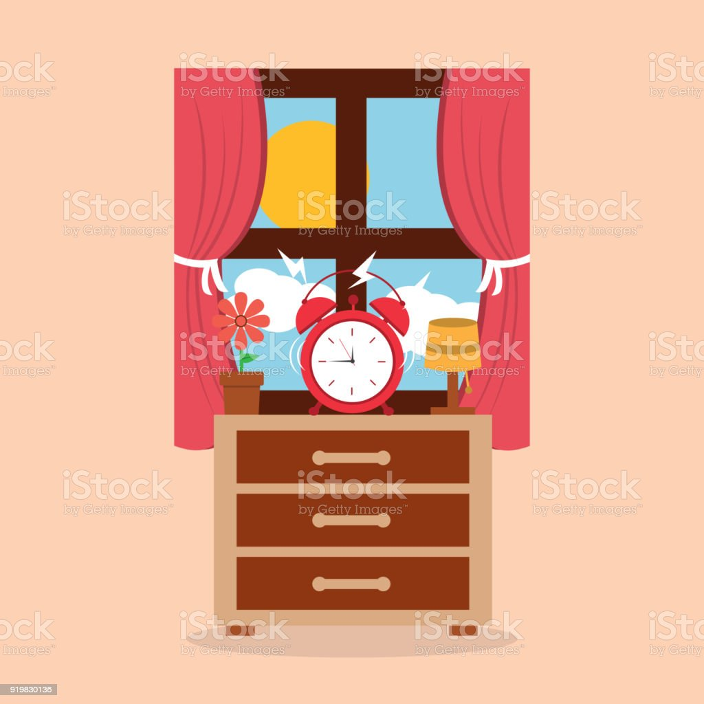 round clock alarm in the bedside table lamp flower and window