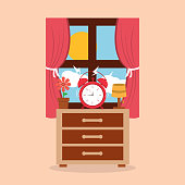 round clock alarm in the bedside table lamp flower and window morning vector illustration