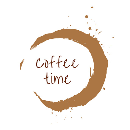 Round coffee time watercolor label