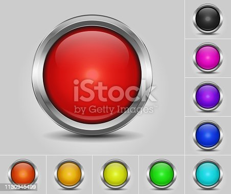 Set of round colored buttons with metallic border