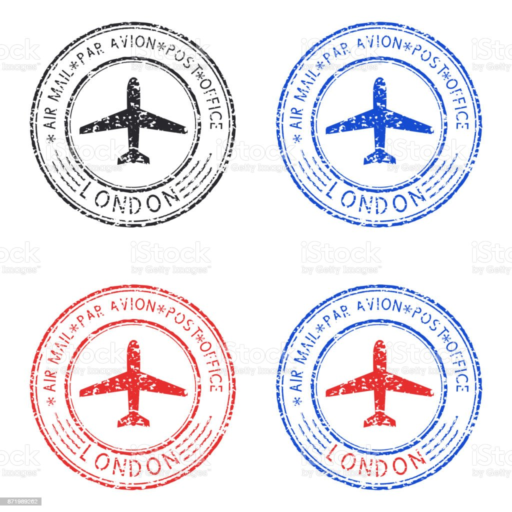Round colored ink postmarks with LONDON title vector art illustration