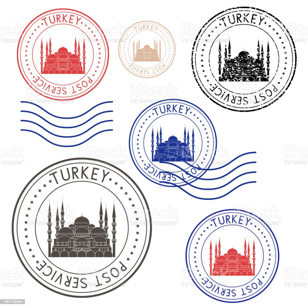 Round colored postmarks from Turkey. With Blue Mosque image vector art illustration