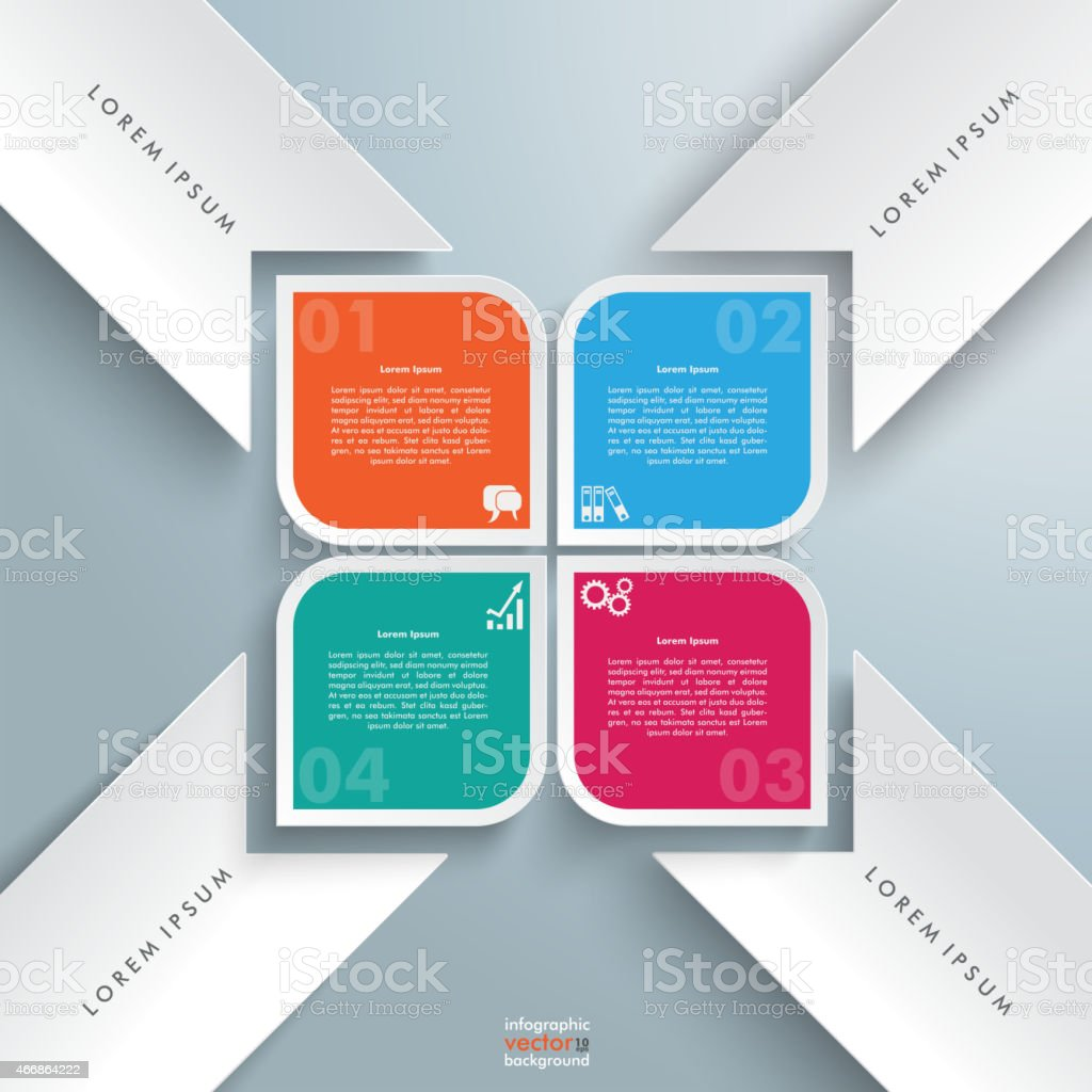 4 Round Colored Quadrates Bevel Stakes Cross vector art illustration