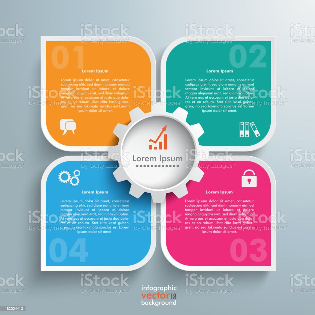 Round Colored Quadrates Template 4 Options Gear Centre vector art illustration