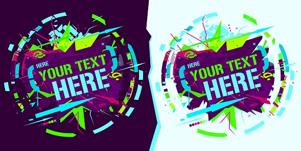 Round Colorful Neon Abstract Graffiti Style Banner Vector Illustration Art Template