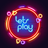 Round colorful neon let's play sign for your projects in retro-futuristic style.
