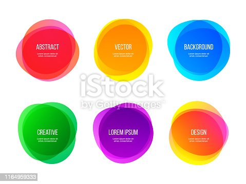 istock Round colorful vector abstract shapes. Color gradient round banners, creative art and graphic design elements 1164959333