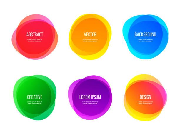 okrągłe kolorowe wektorowe abstrakcyjne kształty. kolorowe gradientowe okrągłe banery, kreatywne elementy artystyczne i graficzne - kolory stock illustrations