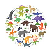 Vector flat style round composition of prehistoric animals icons. Isolated on white background.