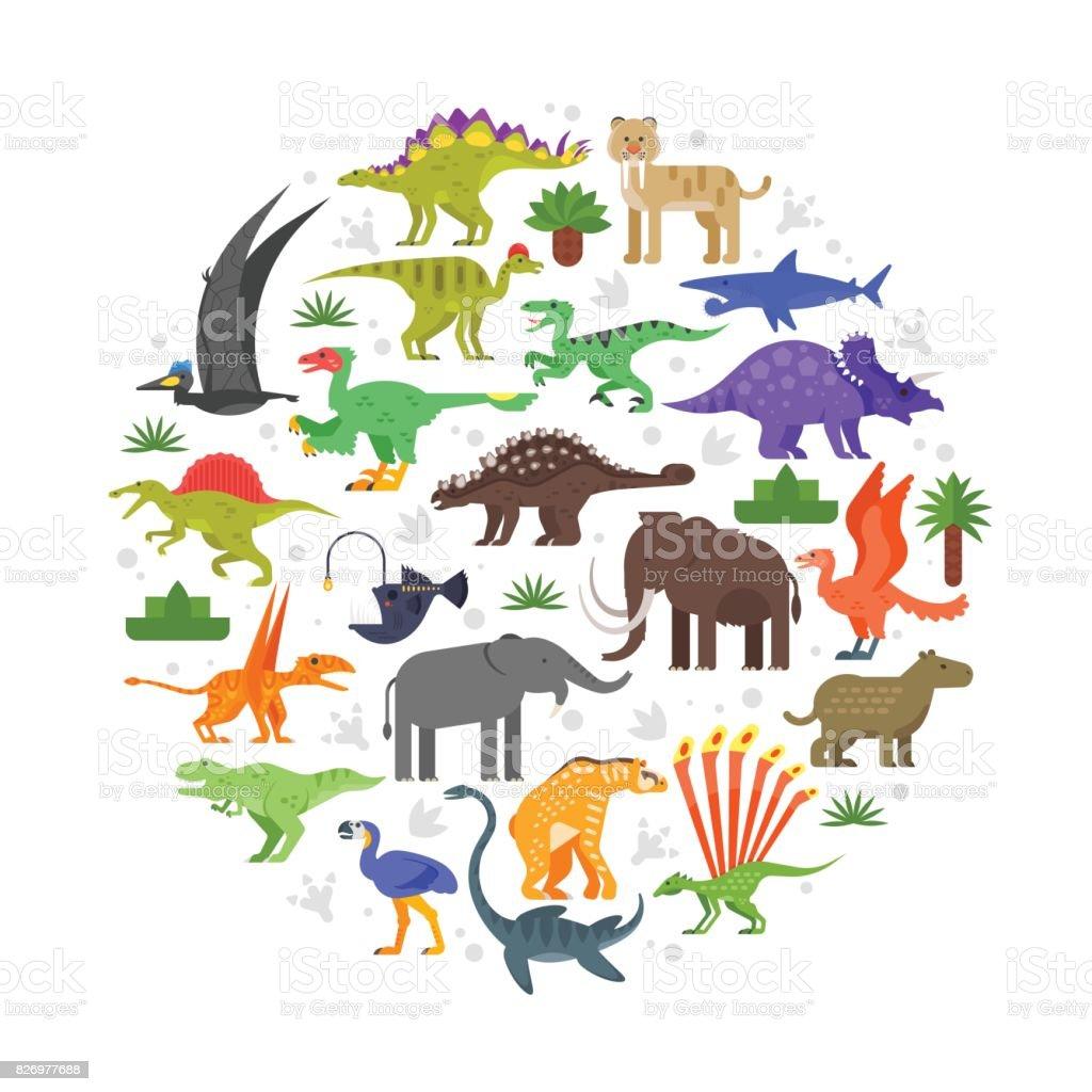 先史時代の動物アイコンのラウンド構成 ベクターアートイラスト
