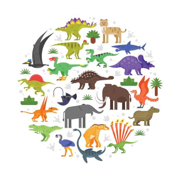 runde zusammensetzung der prähistorischen tiere symbole - eiszeit stock-grafiken, -clipart, -cartoons und -symbole