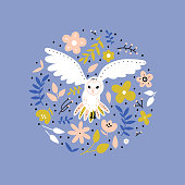 Owl wild bird vector illustration.  Flying animal and floral design element in round shape. Owl, flowers and leaves cartoon  composition on purple background