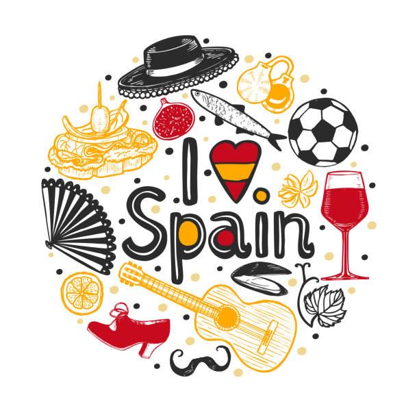 stockillustraties, clipart, cartoons en iconen met samenstelling met spaanse ronde symbolen en ik hou van spanje tekst - castagnetten