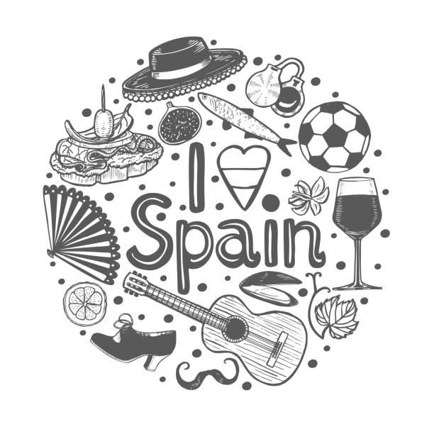 stockillustraties, clipart, cartoons en iconen met ronde samenstelling met spaans symbolen in de hand getekende stijl - castagnetten