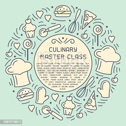 Round concept of culinary master class with doodle style elements and sample text. Suitable for advertising, invitation, banner or card