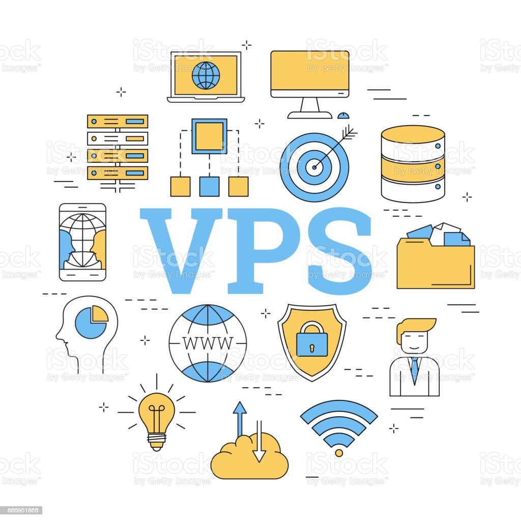 Round concept of Virtual Private Server vector art illustration