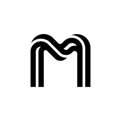 Round Corners Double Line Letter Logotype M