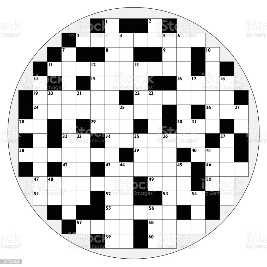 Round Crossword With Empty Boxes To Insert Any Words For A Clear