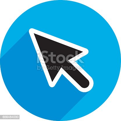 Vector illustration of a black curser with shadow on blue circle background.