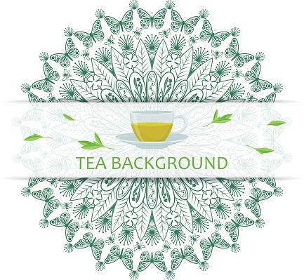 Round decorative tea mandala with leaves.