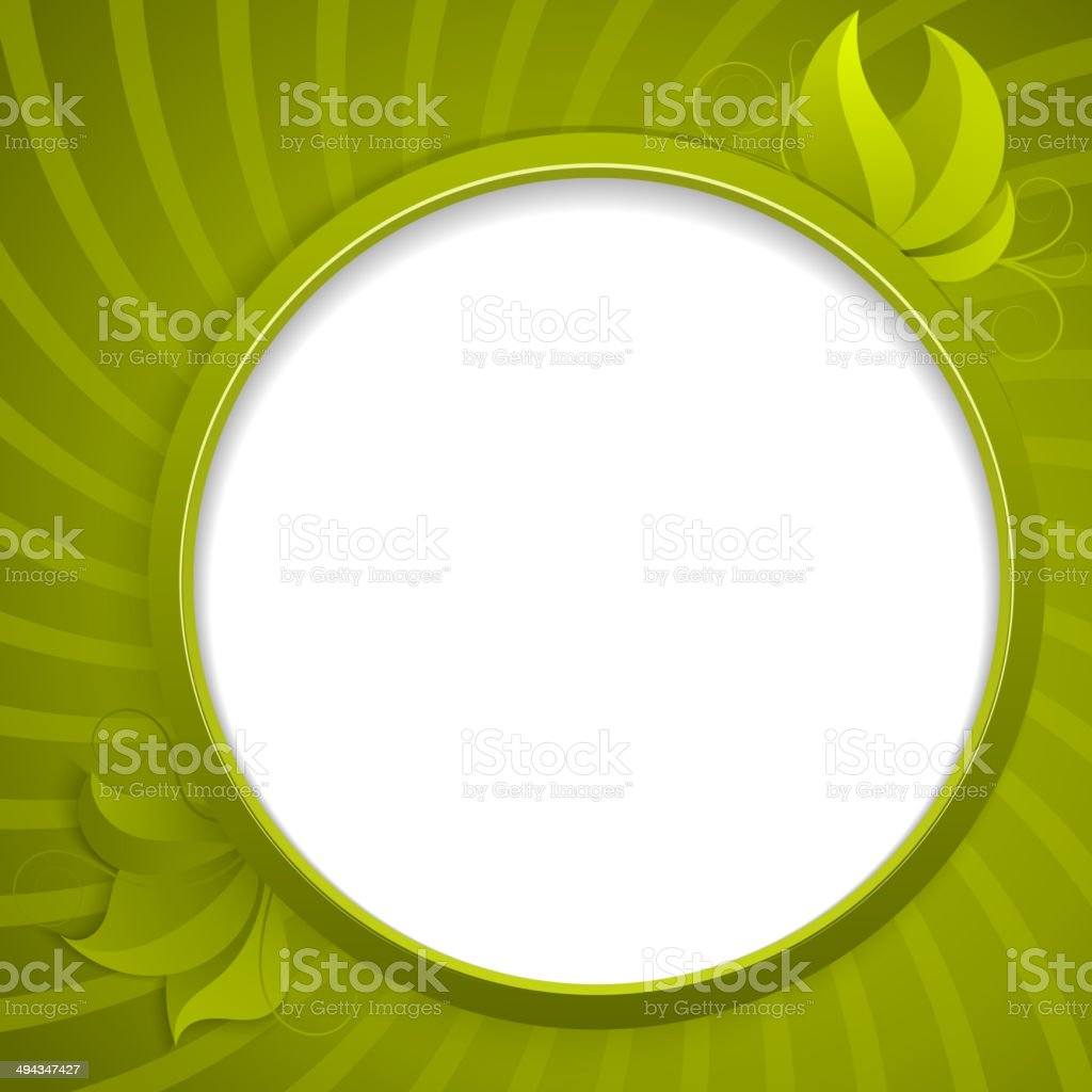 Round design element for information with green leaves royalty-free stock vector art