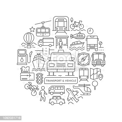 Transportation concept in thin flat illustration. Public transportation line icons in round shape isolated vector illustration. Round design element with vehicle icons - Vector
