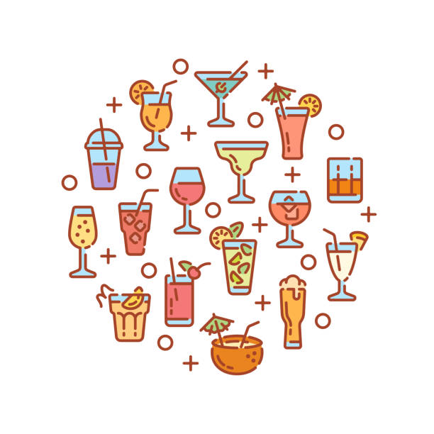 Round design with alcoholic drinks and cocktails elements. Vector illustration. vector art illustration