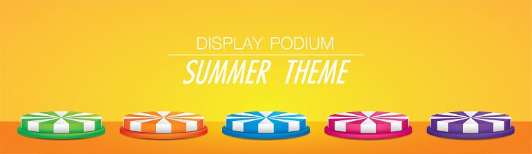 round display podium in summer theme.
