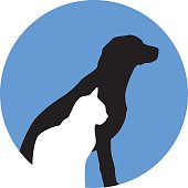 Vector illustration of a white cat and a black dog and a round blue background.