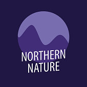 Round emblem of Northern Nature for Travel company or Journal about nature or travel, climbing and hiking